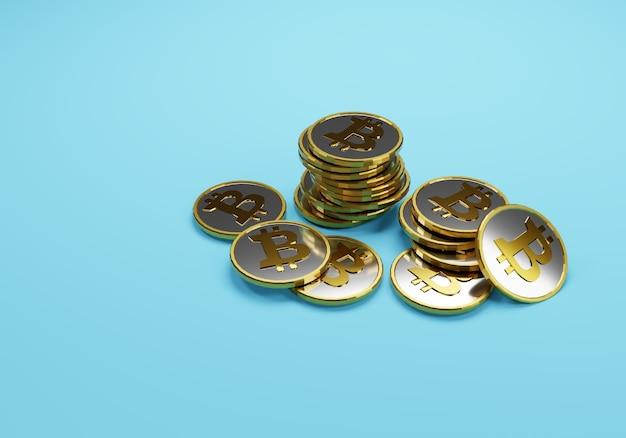 Poignée de bitcoins sur bleu
