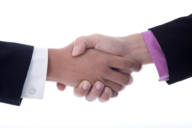 Poignée de main d'affaires sur un fond blanc.