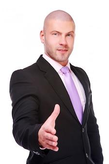 Poignée de main donnant homme d'affaires