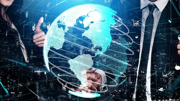 Poignée de main d'entreprise conceptuelle avec tableau de bord pour l'analyse des données financières