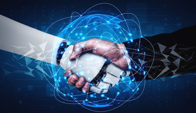 Poignée de main de robot humanoïde de rendu 3d pour collaborer au développement technologique futur par le cerveau pensant ai