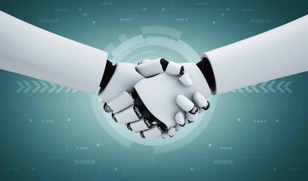 Poignée de main de robot humanoïde de rendu 3d pour collaborer avec la future technologie