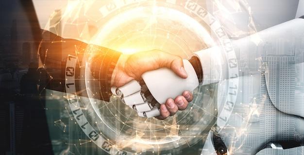 Poignée de main de robot humanoïde de rendu 3d pour collaborer avec la technologie future