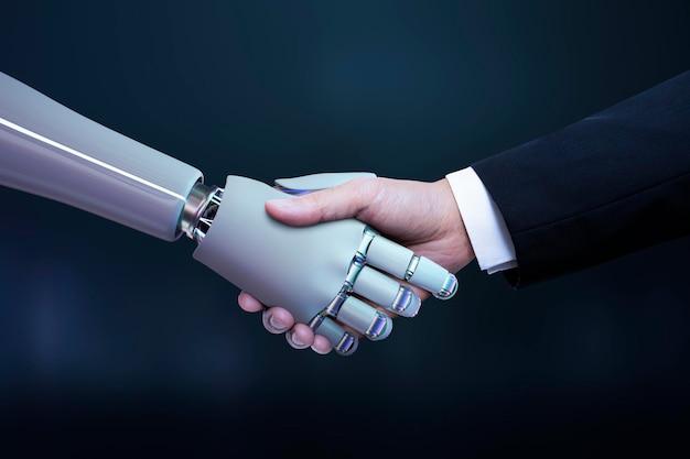 Poignée de main de robot de main d'affaires, transformation numérique d'intelligence artificielle