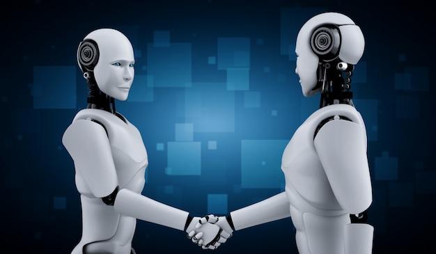 Poignée de main de robots humanoïdes