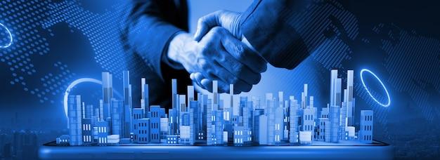 Poignée de main sur la ville intelligente et le concept de technologie de connexion. rendu 3d