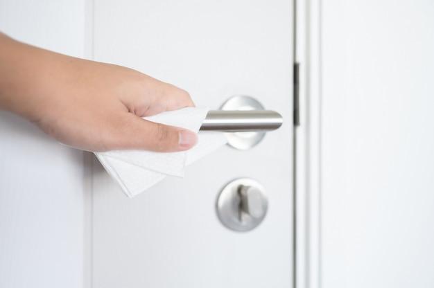 Poignée de porte d'essuyage humide de tissu de nettoyage de prévention du coronavirus covid-19