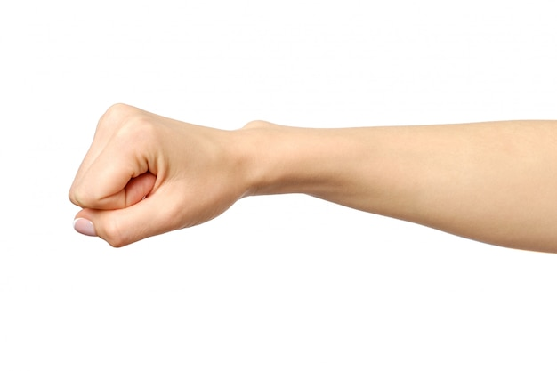 Poing geste de la main de la femme caucasienne