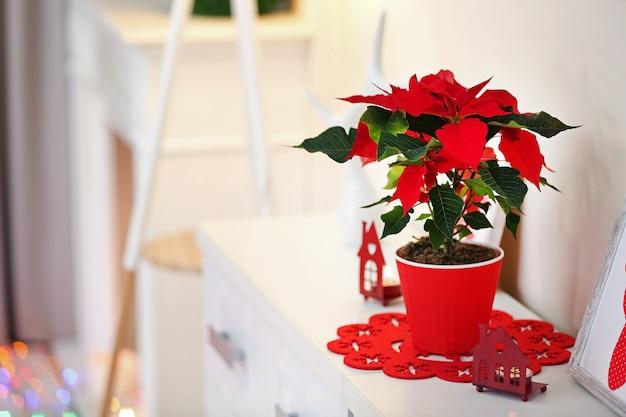 Poinsettia de fleurs de noël et décorations sur étagère,