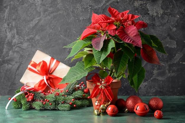 Poinsettia de plante de noël et décor sur table