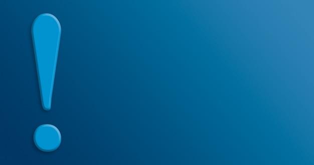Point d'exclamation sur fond bleu 3d