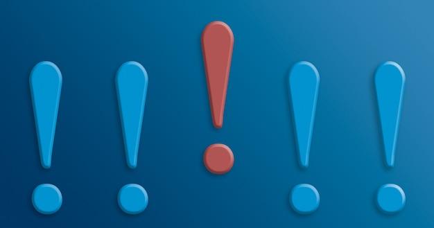 Point d'exclamation rouge parmi les points d'exclamation bleus 3d