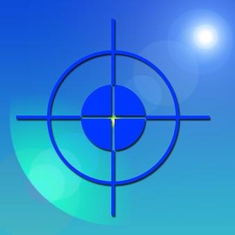 Point focal visière centre croix milieu