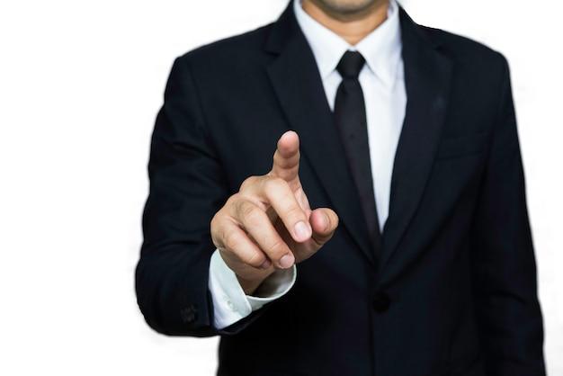 Point de l'homme d'affaires par l'index sur quelque chose. espace de copie
