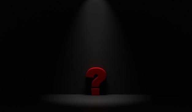 Point d'interrogation dans une pièce sombre