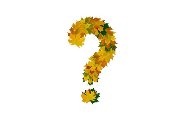 Point d'interrogation de feuilles d'érable d'automne isolé sur une surface blanche