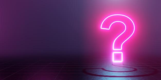 Point d'interrogation lumineux néon abstrait bleu et rose. rendu 3d