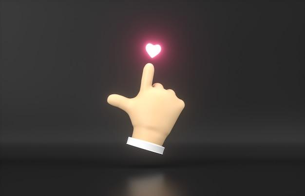 Point de main de dessin animé 3d abstrait à l'icône de néon mini coeur.