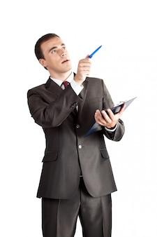 Point de personne d'affaires avec un stylo