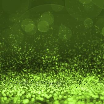 Point de vue abstrait vert citron paillettes à fond blanc