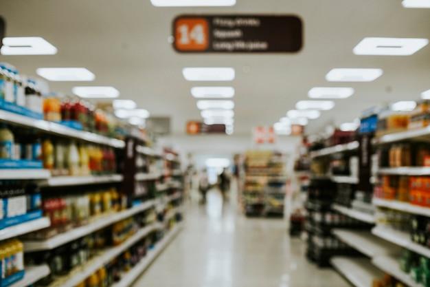 Point de vue d'un client dans un supermarché