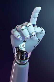 Pointage du doigt de la main cyborg, technologie de l'intelligence artificielle