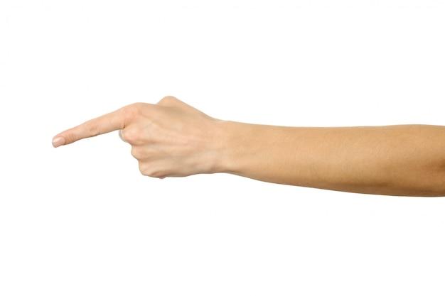 Pointant vers la gauche. main de femme gesticulant isolé sur blanc