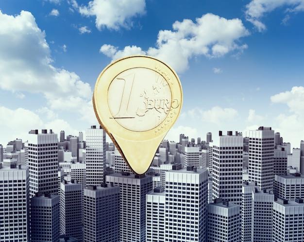 Pointeur de monnaie en euros sur les bâtiments modernes du centre-ville