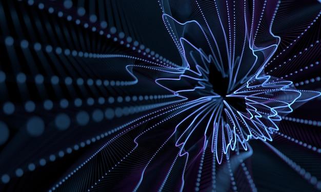 Points de géométrie abstraite tourbillonnent sous forme de fond avec effet de filtre flou