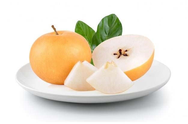 Poire, fruit, plaque, isolé