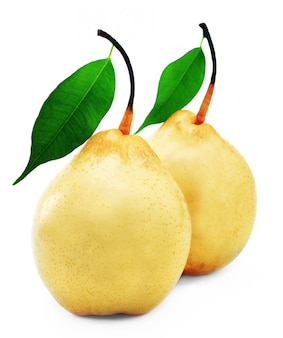 Poire jaune mûre sur fond blanc
