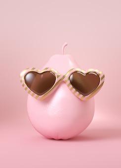 Poire rose avec lunettes de soleil dorées et roses