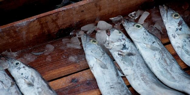 Poisson dans une caisse en bois dans un étal de marché, busan, yeongnam, corée du sud