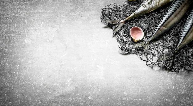 Poisson frais avec un filet de pêche. sur la table en pierre.