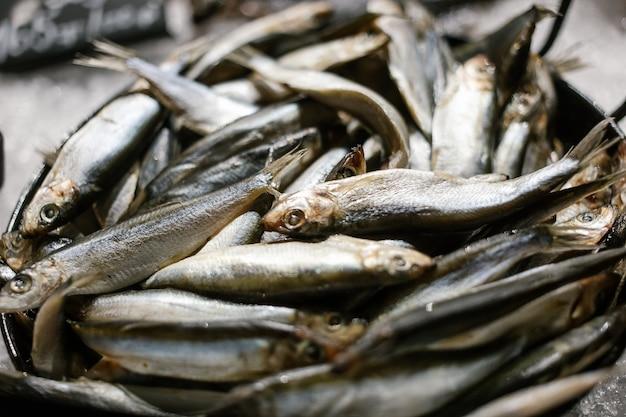 Poisson frais de la mer noire prêt à vendre sur le comptoir des pêcheurs