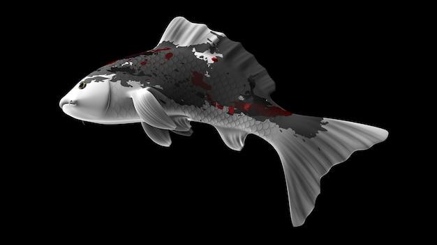 Poisson koi de rendu 3d coloré avec des motifs de couleur noir blanc et rouge et une vue latérale