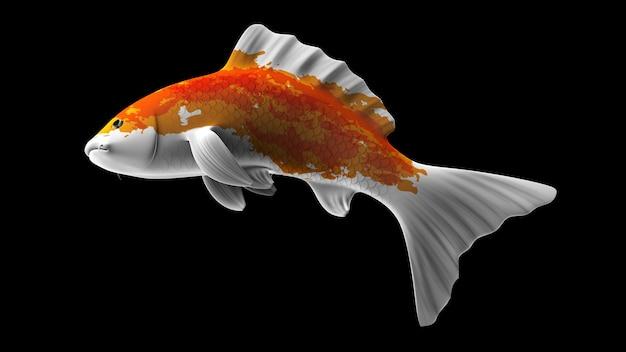 Poisson koi de rendu 3d coloré avec des motifs de couleur orange et blanc et vue latérale