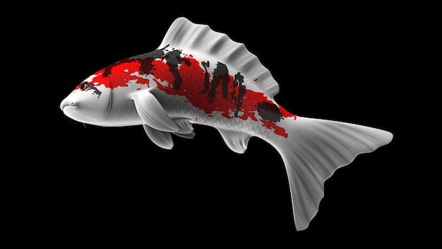 Poisson koi de rendu 3d coloré avec des motifs de couleur rouge noir et blanc et vue latérale