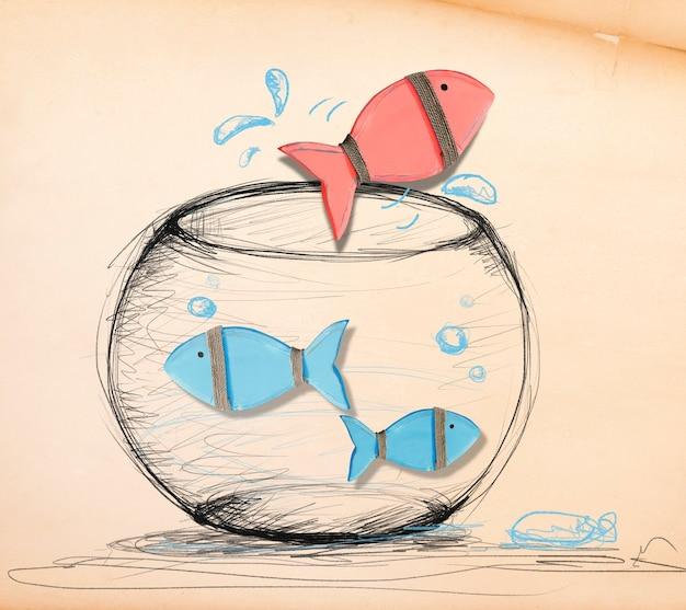 Poisson s'échappant du bocal à poissons