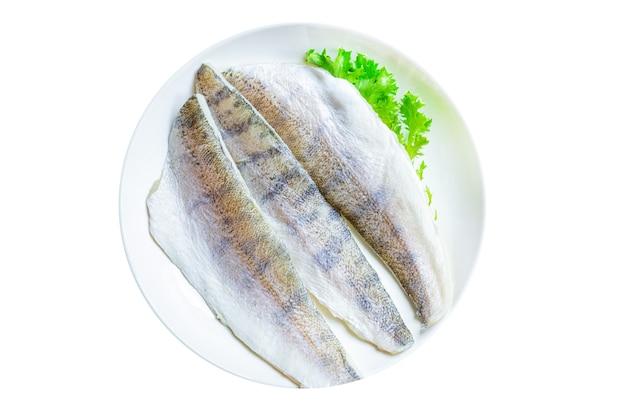 Poisson sandre cru fruits de mer frais produit biologique merlu repas collation copie espace fond de nourriture