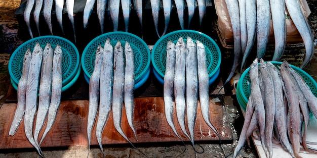 Poisson, à, a, stalle, dans, a, marché poisson, busan, yeongnam, corée sud