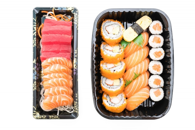 Poisson sushi fond dîner crevettes