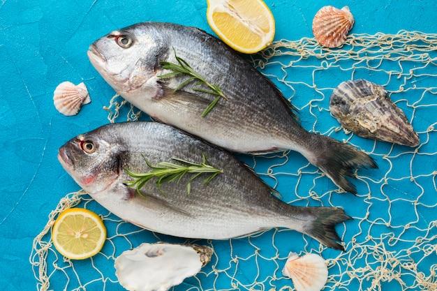 Poissons à plat avec filet de pêche