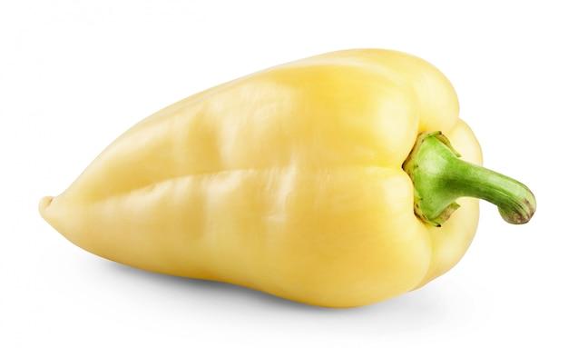Poivron jaune isolé sur fond blanc.