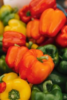 Poivrons bio frais colorés