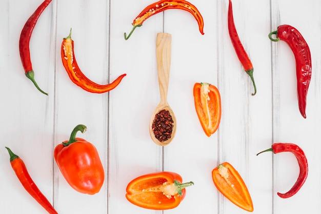 Poivrons frais et épices en cuillère