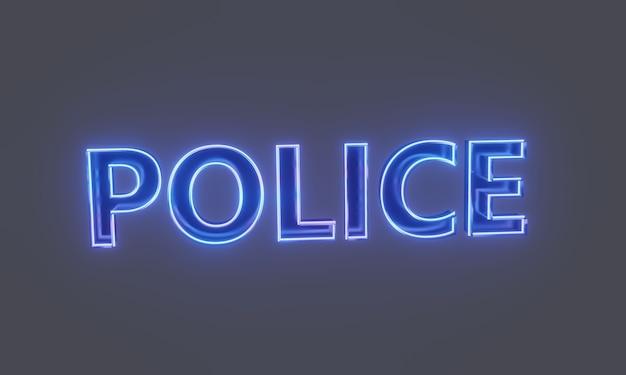 Police 3d images de texte néon