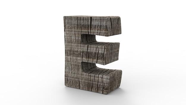 Police de e pour créer à partir d'un mur en bois isolé sur blanc