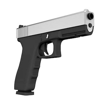 Police métallique puissante ou pistolet militaire sur fond blanc. rendu 3d