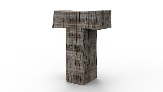 Police de t à créer à partir d'un mur en bois isolé sur blanc